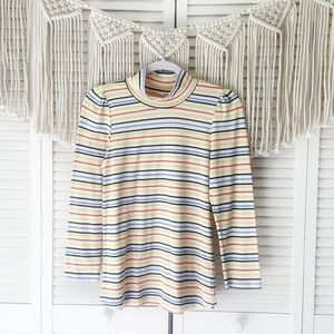 FREE PEOPLE Striped Mock Neck Long Sleeve Top L
